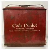Vintage cola cooler by Poloron products with wear