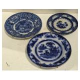 Lot of Flow Blue Oriental Plates