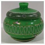 Hand Painted Green Glass Jam Jar