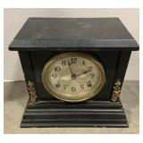 "Wooden Ingraham Mantle Clock measures 11 1/2"" x"