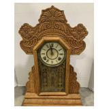 """Wooden Ingraham Mantel Clock measures 15"""" x 5"""" x"""