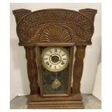 """Wooden 8 Day Mantel Clock measures 15"""" x 5"""" x 23"""""""