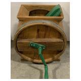 Vintage Wooden Barrel Butter Churner