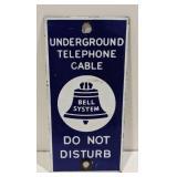 Single Sided Porcelain Bell System Sign. Measures
