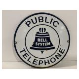 Bell Public Telephone System Metal Sign