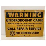 Metal Bell Telephone System Warning Sign
