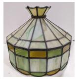 Vtg Tiffany-Style Slag Glass Lamp Chandelier
