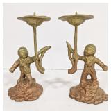 Pair of vintage bronze figure candle holders.