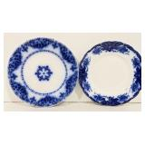 Lot of two blue and white china plates. One
