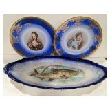 Lot of two Bavaria marked plates and one fish