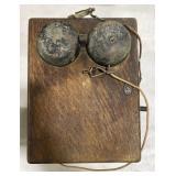 Vintage wooden telephone box