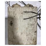 Vintage white wooden telephone box