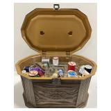 Faux wooden box with sewing supplies