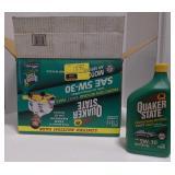 Quaker State 5W-30 quart bottle motor oil.