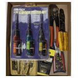 Flat of Electrical Supplies. Wire Strippers,