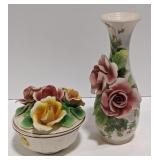 Italian China Floral Vase and Bowl