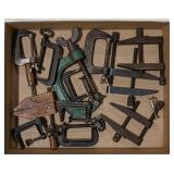 Flat of Vtg C-Clamps and Machinest Clamps