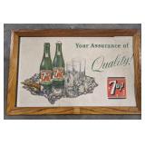 Vintage frames cardboard 7UP advertisement,