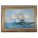 Oil on canvas sailing ships framed painting.