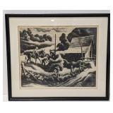 """Thomas Hart Benton """"Haystack"""" Signed Lithograph"""