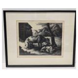 "Thomas Hart Benton ""White Calf"" Signed Lithograph"