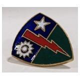 Military pin lightening bolt, star, and a sun,