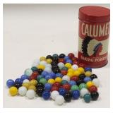 Vintage Calumet Baking Powder Can Full Of Marbles
