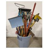 Misc lot of hand tools in plastic trash can
