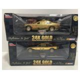 Lot of 2 1:24 Scale 24k Gold Plated Body NASCAR