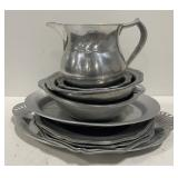 Lot of Pewter Dishes and Pitcher