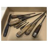 Lot of Handheld Wood Working Chisels