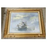 "P.Salas boat framed painting 31""x 27"""
