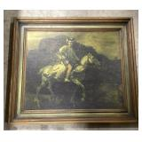 "Polish horse rider framed painting 32""x36"""