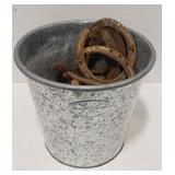 Pail of rusty horse shoes