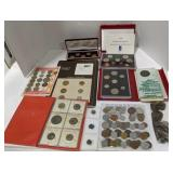 Lot with foreign money proof sets, antique coins