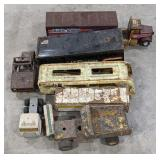 Lot of vintage semi cab and trailer toys, one