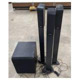 Infinity Subwoofer and 3 tower speakers