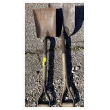 2 metal shovels