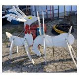 2 wood reindeer