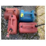 Lot of assorted gas cans