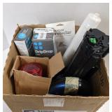 Box of various items incl. CD players, Caution