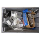 Spatula and metal o ring lot in plastic box
