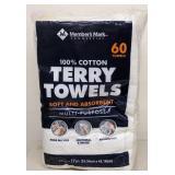 "Members mark terry towels 14"" x 17"" pack"