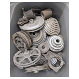 Tote of Pulleys and Other Various Parts