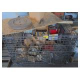 Pallet Size Wire Basket w/Misc Parts