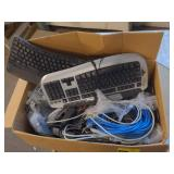 Box of Various Keyboards & Computer Cables