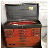 Vtg Rem Line Tool Box, Contents and Cart It Sits