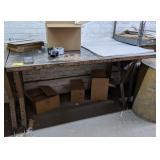 "Workshop Table measuring 60"" x 36 1/2"" x 34"""
