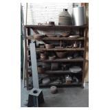 Shelf w/Old Machine Attachments/Parts