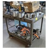 Metal Utility Cart on Casters, all contents